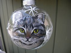 Hand painted glass ornament with Tabby cat by ArtisanColorado, $25.00