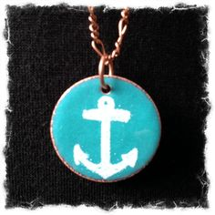 We love this White Anchor on Turquoise Circle by http://www.aflamecreations.ca/