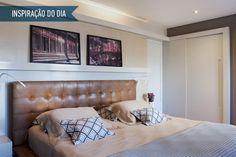 Inspiração do dia: quarto com cabeceira de couro sintético e tons neutros