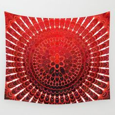 SOLD: Red Flower Mandala Wall Tapestry by David Zydd  #gift #xmasgift #xmasgiftideas #home #artwork