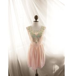 baby pink tunic dress with mint floral embroidery only $37