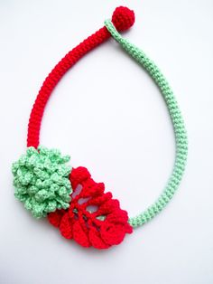 Mint and red crochet necklace Rope necklace mint by LindaLejn