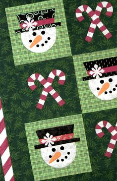 Mr Snowman quilt pattern by Black Mountain Needleworks. Easy patchwork and quick fusible applique. Instant download or printed pattern.