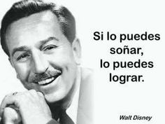 "Hoy dedico la sección de ""Frases de cine"" a Walt Disney, creador de un magnífico mundo de sueños, fantasía e ilusión. World Disney, Motivational Quotes, Inspirational Quotes, Disney Quotes, Disney Dream, Sentences, Thoughts, Instagram Posts, Google"