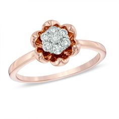 1/5 CT. T.W. Diamond Cluster with Flower Frame Ring in 14K Rose Gold - View All Rings - Zales