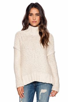 Free People Long Summer Pullover Cream $128 Large NWT #FreePeople #TurtleneckMock
