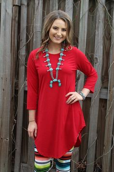 Been There 3/4 Sleeve Tunic in Red – Giddy Up Glamour Boutique