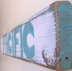 Pacific Beach Sign with Original Art Design on Reclaimed Distressed Wood Shark Week Coastal Beach Surf Nursery Birthday Party Decor