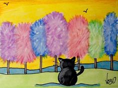 "Aceo  Original  ATC   ""COTTON CANDY TREES  ""    pencil / ink #OutsiderArt"