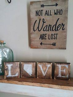 Rustic Nevada Blocks Reversible Love Home Sign