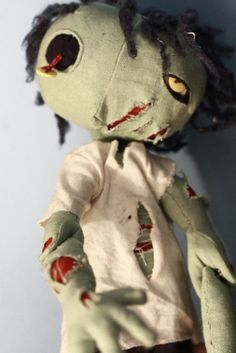 Olivio the Zombie  OOAK jointed art cloth doll by NataliaVulpes