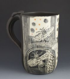 Patricia Griffin Studio - stoneware with etched imagery large Cup/Mug♥ Pottery Mugs, Ceramic Pottery, Pottery Art, Thrown Pottery, Slab Pottery, Pottery Studio, Sgraffito, Ceramic Cups, Ceramic Art