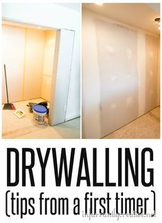 Tips for Drywalling and Mudding from a Newbie {Laundry Room Remodel}