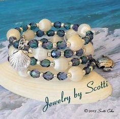 Sea Dreams Teal Silver Memory Wire Bracelet by JewelryByScotti, $20.00