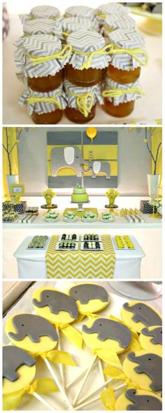 Yellow and Gray Chevron Baby Shower Ideas #elephants