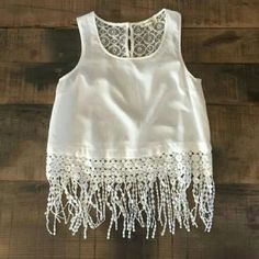 MONTEAU White Lace Fringe Crop Blouse This gorgeous and flirty shirt can go from boho to chic.   Lace back with gold framed buttons and an embroidered lace fringe. Monteau Tops Crop Tops