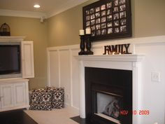yellow cape, living rooms, fireplac makeov, painted fireplaces, fireplace redo, accent colors, picture frames, fireplace wall, fireplace makeovers