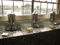 A coffee/tea station at the Fort Mason Conference Center in San Francisco.
