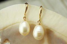 Pearl EarringsPearl Dangle EarringsWedding by DIYArtMall Pearl Drop Earrings, Bridal Earrings, Ring Earrings, Gold Wedding Jewelry, Gold Pearl, Dangles, My Etsy Shop, Pearls, Unique Jewelry