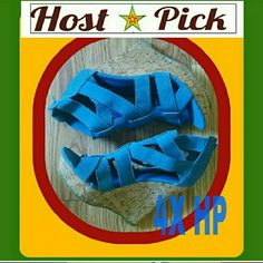 """3X HP """"CURE FOR THE SUMMERTIME BLUES"""" Cool """"distressed"""" denim colored sandals!! Straps are comfortable and stretchy. The wedge is quite high. Perfect with your fav denims!  Never worn. Brand NEW. TRIED ON IN THE HOUSE. NEVER WORN OUTSIDE. NWOB Second pic is closer to true color. CALIFORNIA DREAMS Shoes Wedges"""