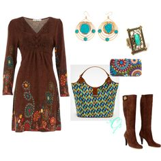 Turquoise & Brown, created by violetfemme-71 on Polyvore