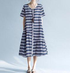 Women Summer cotton short sleeved round neck dress