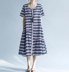 Women Summer cotton short sleeved round neck dress by MaLieb