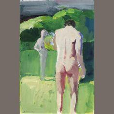 Paul Wonner  Figures in Sunlight, c. 1960s 18 x 12in (46 x 31cm)