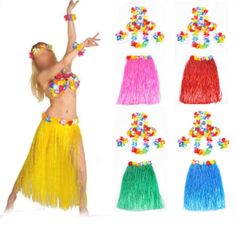 6 SET LONG 60CM Hawaiian Hula Grass Skirt Fancy Dress Adult Costume With Flower  #Unbranded #HawaiianHulaGrassSkirt