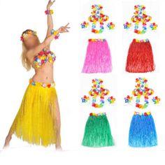 6 SET LONG 60CM Hawaiian Hula Grass Skirt Fancy Dress Adult Costume With Flower  #Unbranded #HawaiianHulaGrassSkirt