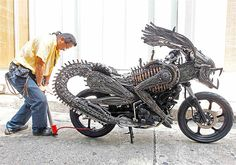 Motorcycle made from recycled parts at a workshop in Bangkok.