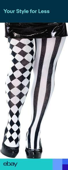 c8ca71016 Harlequin Jester Black   White Tights Halloween Fancy Dress Accessory P8002