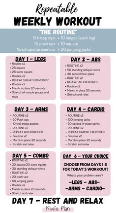 Squat Workout, Gym Workout Tips, Fitness Workout For Women, Sport Fitness, At Home Workout Plan, Weekly Gym Workouts, Weekly Workout Plans, Workout Plans For Women, Weekly Exercise Plan