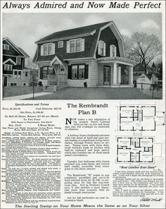 Dutch Colonial Revival - 1916 Rembrandt - International Mill & Timber - Sterling System Homes - Gambrel roof Spanish Colonial Homes, Colonial House Plans, House Floor Plans, Vintage House Plans, Vintage Homes, Gambrel Roof, Classic Architecture, Classic House, Traditional House