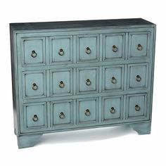 Antique Blue Apothecary 3-Drawer Chest - for kids stuff/toys