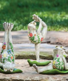 Yoga Frog Figurine Set #zulily #zulilyfinds