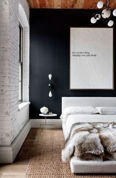 industrial bedroom exposed brick wall