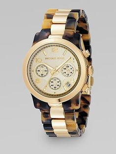 Michael Kors Gold & Tortoise Two-Tone Watch