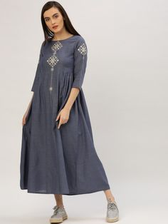 Buy Jaipur Kurti Women Blue Solid Fit And Flare Dress - Dresses for Women from Jaipur Kurti at Rs. Style ID: 4373866 Dress Design Sketches, Pakistani Dresses Casual, Only Shirt, Girl Outfits, Fashion Outfits, Dress Brands, Flare Dress, Kurti, Indian Fashion