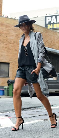 Just The Design: Alexandra Pereira is wearing a hat from H&M, blazer from Lacoste, shorts from Romwe, sandals from schutz, top from Mango and the bag is from Chanel