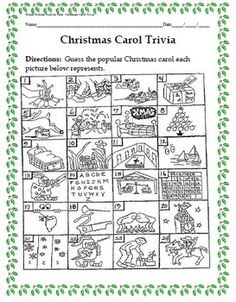 Winter Holiday Activity Pack - Guess the Christmas Carol Trivia Game - christmasi Christmas Carol Quiz, Classic Christmas Carols, Christmas Trivia, Winter Christmas, Christmas Ideas, Christmas Readings, Holiday Trivia, Christmas Parties, Christmas Door
