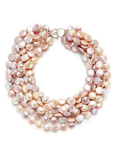 Seven Strand Blush Coin Pearl Necklace from Jennifer Miller Fine Jewelry on Gilt
