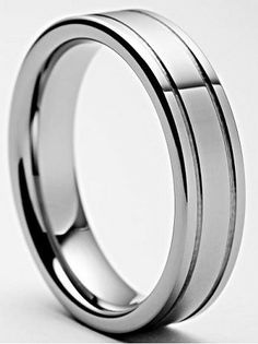 Arizona Polished Grooved Tungsten Carbide Ring 6mm $49