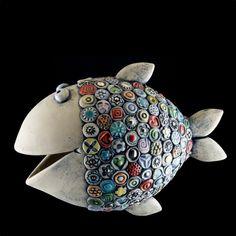 Photo Fish Sculpture, Pottery Sculpture, Ceramic Animals, Clay Animals, Ceramic Clay, Ceramic Pottery, Polymer Clay Fish, Pottery Handbuilding, Fish Crafts