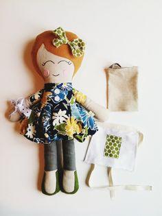 Jacqueline, Cloth Doll, Softie, Rag Doll, Cooking Doll. via Etsy.
