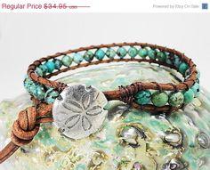 CIJ Sale Turquoise blue leather wrap bracelet - Sand dollar beach jewelry - beach sea green boho bracelet sea shore - turquoise and brown s Ocean Jewelry, Summer Jewelry, Beach Jewelry, Body Jewelry, Jewlery, Bracelet Turquoise, Turquoise Jewelry, Bracelets Wrap En Cuir, Beaded Bracelets