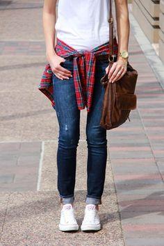white plain t-shirt- long sleve plaid shirt- dark wash skinny jeans- white converse
