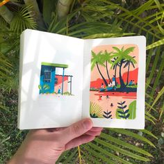"""I'm visiting the Yucatán peninsula of Mexico for a couple of weeks! Left page: """"Yerbabuena del sisal"""" in Valladolid. Right page: playa del Carmen. Sketchbook Drawings, Art Sketches, Art Drawings, Marker Art, Pen Art, Gouache Painting, Painting & Drawing, Posca Art, Illustration Art"""