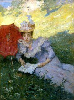 A Pleasant Reading - Luigi Rossi - (Swiss:1853-1923)