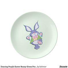Dancing Purple Easter Bunny Green Porcelain Plate